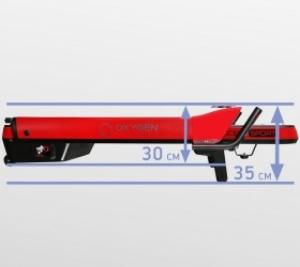 Толщина тренажера в сложенном виде составляет всего 35 см. (или 30 см. при условии снятия небольших поручней)