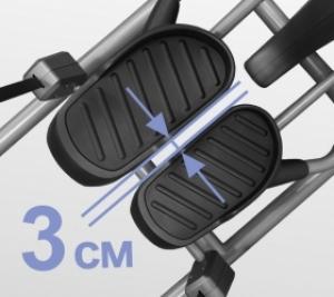 Расстояние между педалями (супермалый Q-Фактор E.S.Q.F.™) составляет всего 3 см
