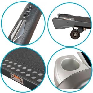Изменение угла наклона, регулировка скорости, транспортировочные ролики, покрытие дорожки, держатель для бутылки