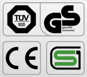 Обязательные сертификаты: европейский CE, немецкий GS TUV, японский SG