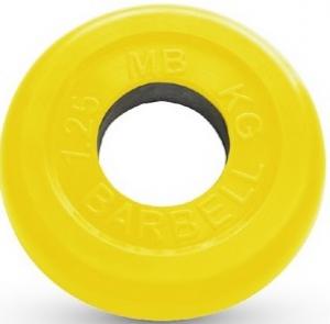 Диск ф50 мм, 1,25 кг, желтый MB-PltC50-1,25 MB Barbell